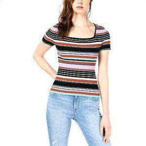 NWT Bar III Square-Neck Short-Sleeve Sweater, M